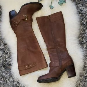 Sz 7 1/2 Born Brown Tall Leather Boots